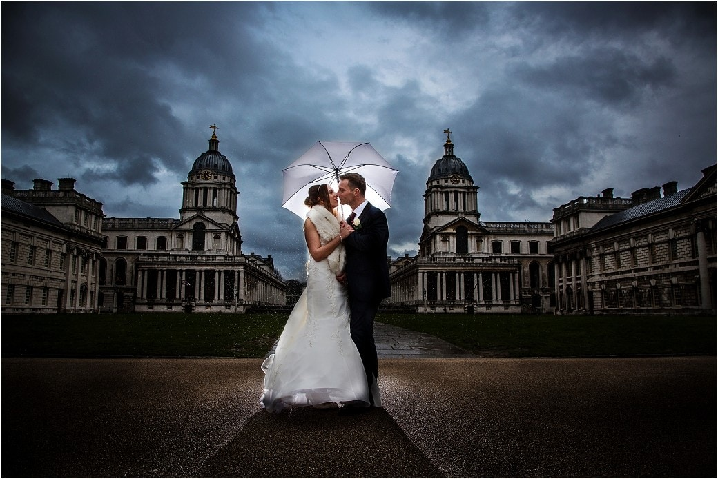 A wedding couple at Old Royal Naval College